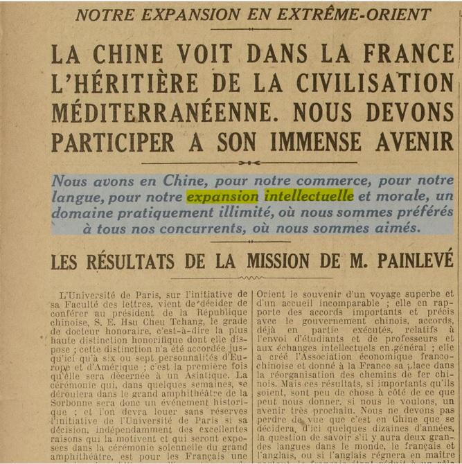 Excelsior_LA CHINE VOIT DANS LA FRANCE L'HÉRITIÈRE DE LA CIVILISATION MÉDITERRANÉENNE [18-11-1920]