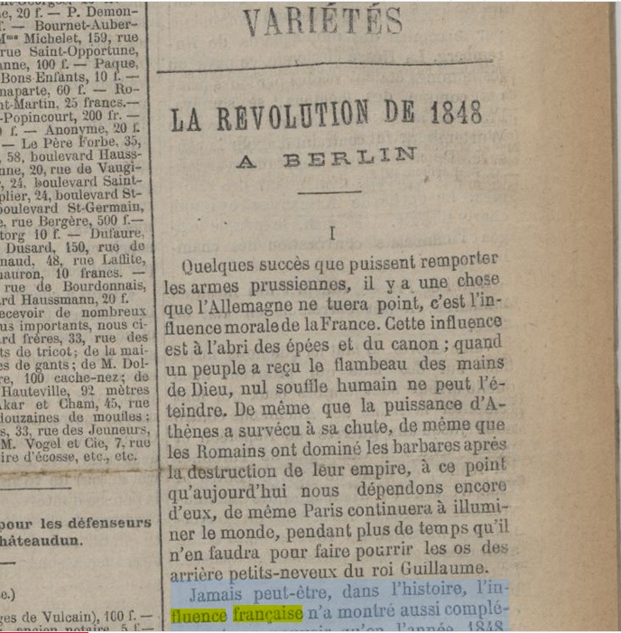 JORF_la révolution de 1848 à Berlin [20-01-1871]