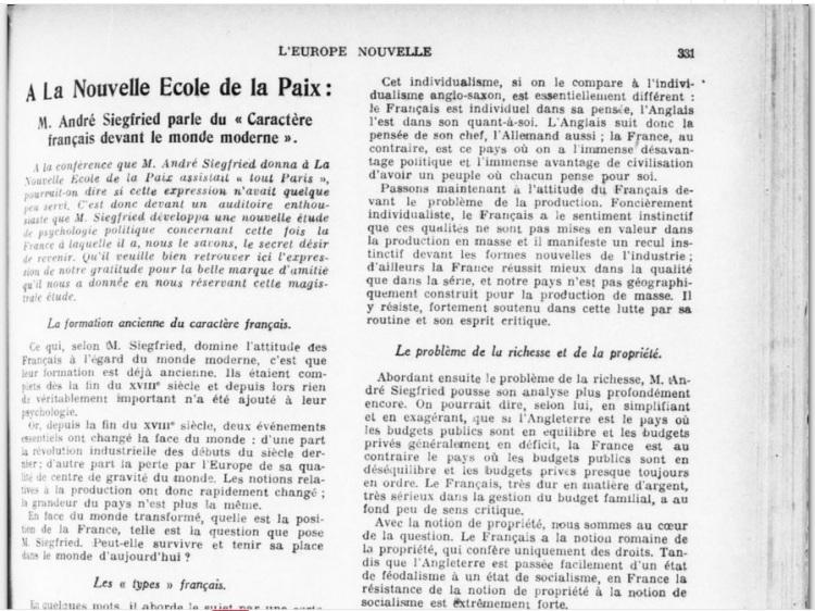 L'Europe nouvelle_André Siegfried parle du caractère français devant le monde moderne [12-03-1932]