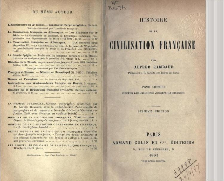 Histoire de la civilisation Française (Rambaud, Alfred, vol. 1, 1895)