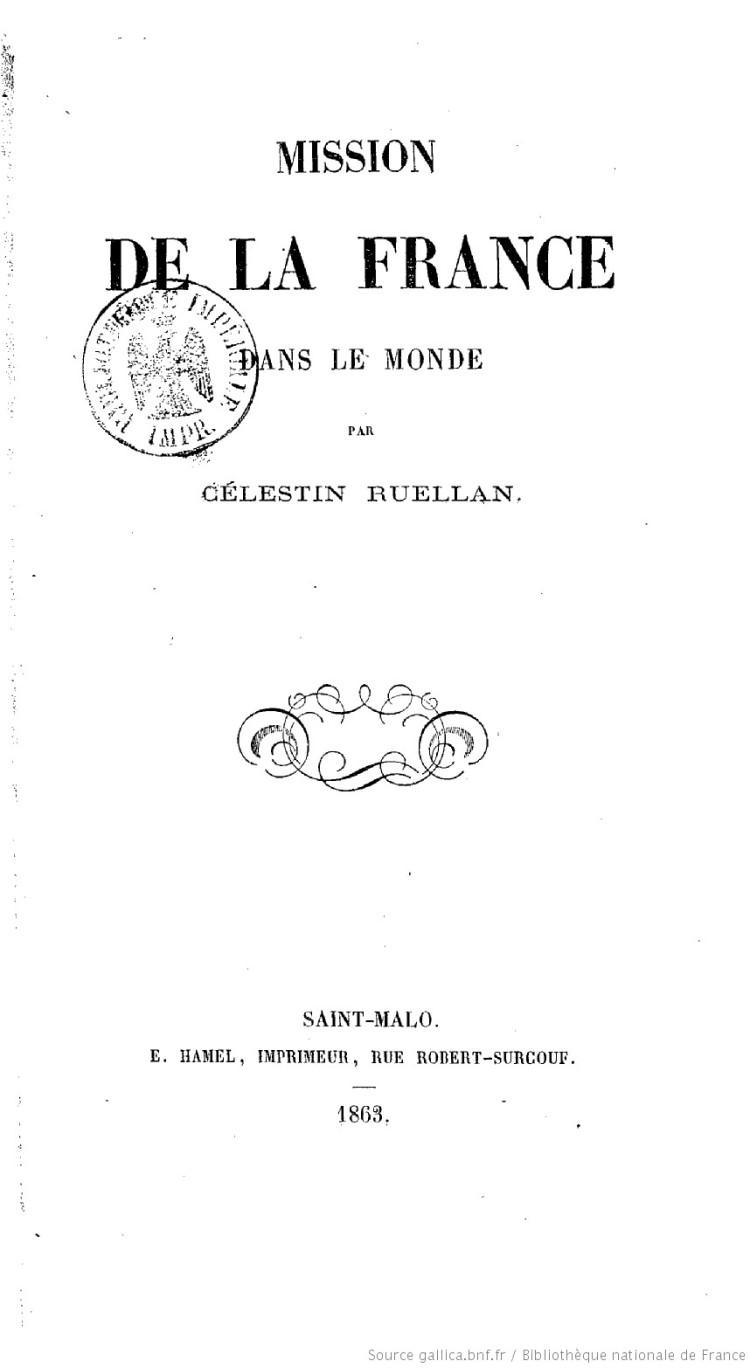 La mission de la France dans le monde (Célestin Ruellan, 1863)