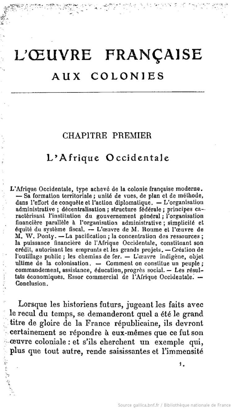 L'oeuvre française aux colonies, Chap. premier_(Humbert Charles, 1913)